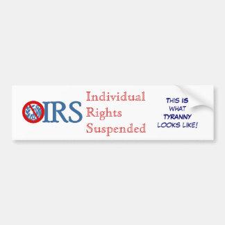 Los derechos individuales del IRS suspendidos Pegatina Para Auto