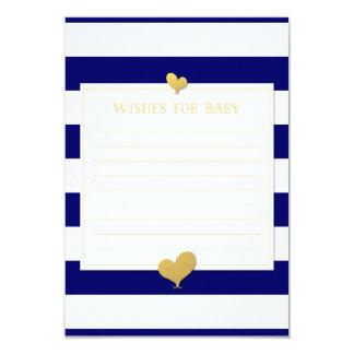 """Los deseos para el consejo del bebé cardan el oro invitación 3.5"""" x 5"""""""