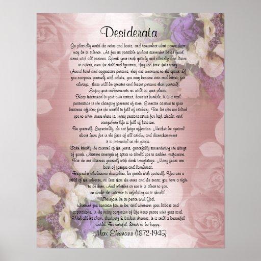 """Los desiderátums """"desearon cosas"""", prosa en floral posters"""