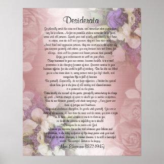 """Los desiderátums """"desearon cosas"""", prosa en floral póster"""