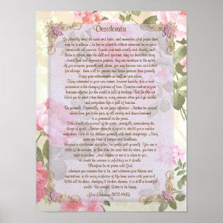 """Los desiderátums """"desearon cosas"""", prosa floral póster"""