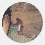 Los detalles de St Christopher de Hieronymus Bosch Etiquetas Redondas
