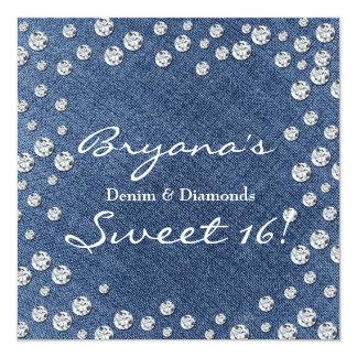 """Los diamantes del dril de algodón dispersaron la invitación 5.25"""" x 5.25"""""""