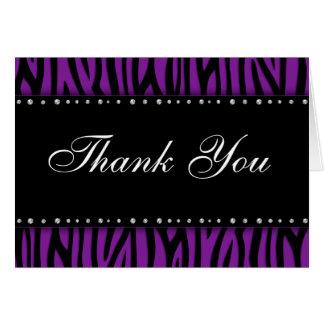 Los diamantes impresos cebra púrpura le agradecen tarjeta pequeña