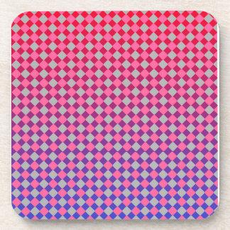 Los diamantes rojos y azules grises rosados posavasos