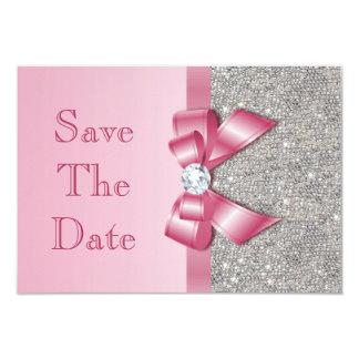 """Los diamantes rosados falsos del arco ahorran la invitación 3.5"""" x 5"""""""