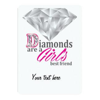 """Los diamantes son el mejor amigo de un chica invitación 5"""" x 7"""""""
