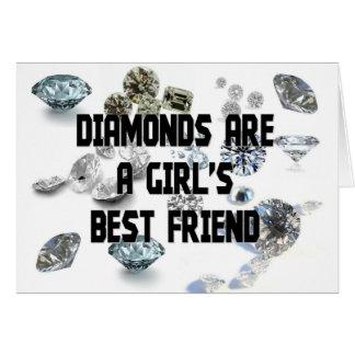 Los diamantes son el mejor amigo de un chica tarjeta de felicitación