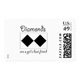 Los diamantes son un mejor amigo de los chicas sello postal
