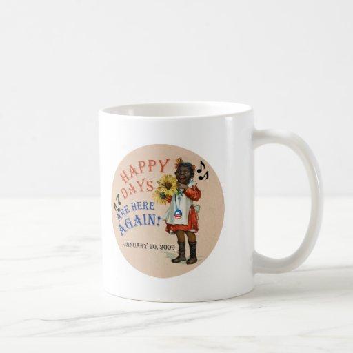 Los días felices americana negros de Obama están a Tazas De Café