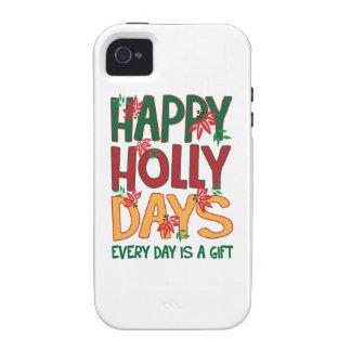 Los días felices del acebo cada día es regalo Case-Mate iPhone 4 fundas