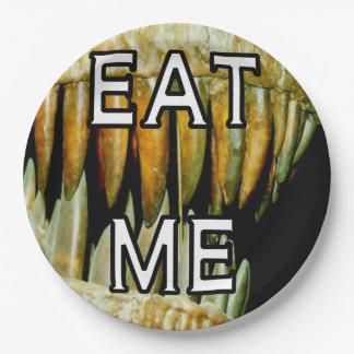 Los dientes grandes del dinasour me comen plato de papel de 9 pulgadas