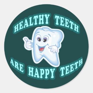 Los dientes sanos son dientes felices pegatina redonda