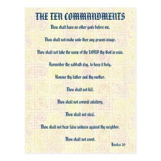 Los diez mandamientos amarillean la postal de las