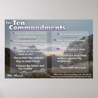 Los diez mandamientos en el monte Sinaí Póster