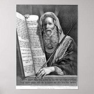 Los diez mandamientos en la impresión hebrea