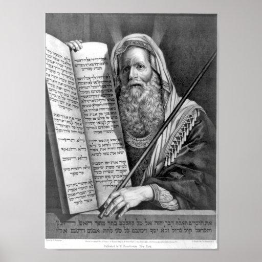 Los diez mandamientos en la impresión hebrea impresiones