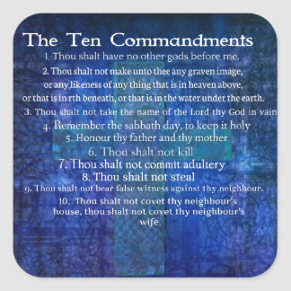 Los diez mandamientos enumerados pegatina cuadrada