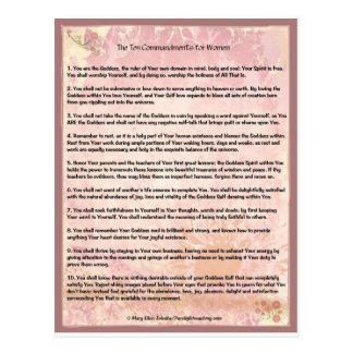 Los diez mandamientos para las mujeres postal