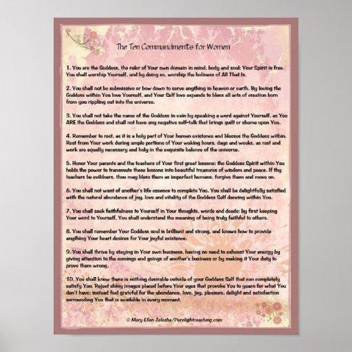 Los diez mandamientos para las mujeres póster