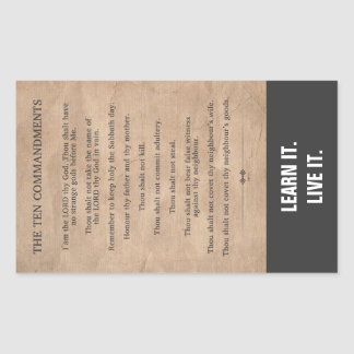 Los diez mandamientos rectangular pegatina