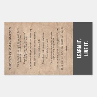 Los diez mandamientos pegatina rectangular