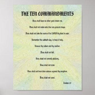 Los diez mandamientos - poster floral en colores p póster