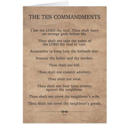 Los diez mandamientos tarjetas