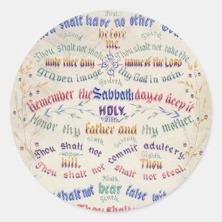 Los diez pegatinas de los mandamientos etiquetas redondas
