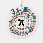 Los dígitos del pi forman un espiral colorido adorno navideño redondo de cerámica
