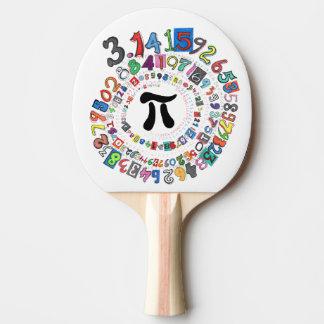 Los dígitos del pi forman un espiral colorido pala de tenis de mesa