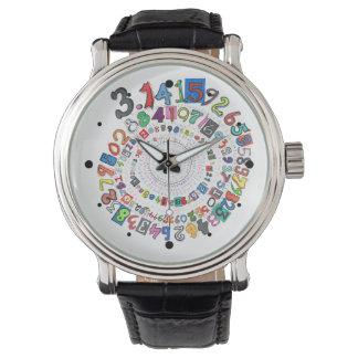Los dígitos del pi forman un espiral colorido relojes