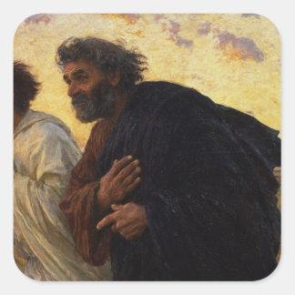 Los discípulos Peter y funcionamiento de Juan Pegatina Cuadrada