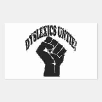 Los disléxicos desatan rectangular pegatina