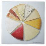 Los diversos pedazos de queso que se asemejan a un azulejo cuadrado grande