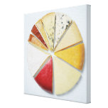 Los diversos pedazos de queso que se asemejan a un impresion de lienzo