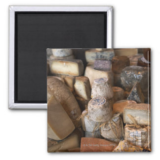 Los diversos quesos en mercado atascan, marco comp imán para frigorifico