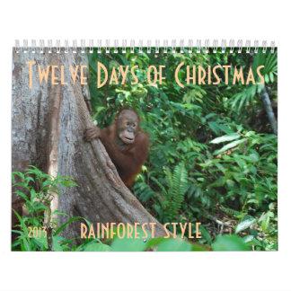 Los doce días de estilo de la fauna del navidad calendario