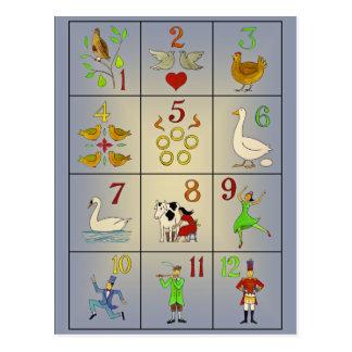 Los doce días de poster de la canción del navidad tarjeta postal