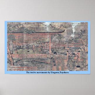 Los doce movimientos por Utagawa, Toyoharu Posters