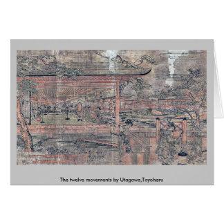 Los doce movimientos por Utagawa, Toyoharu Tarjeton