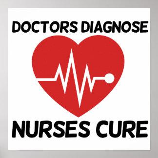 Los doctores Diagnose Nurse Cure Poster