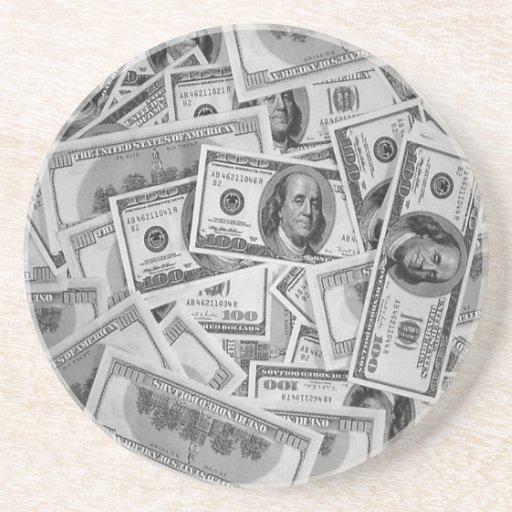 los dólares de dinero de las cuentas apilan centav posavasos personalizados