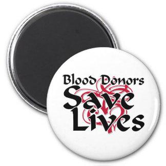 Los donantes de sangre ahorran vidas imán redondo 5 cm