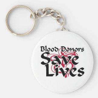 Los donantes de sangre ahorran vidas llavero redondo tipo pin