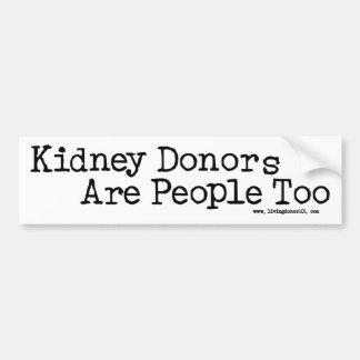 Los donantes del riñón son gente también pegatina de parachoque