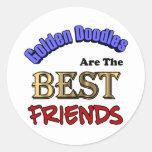 Los Doodles de oro son los mejores amigos Etiquetas Redondas