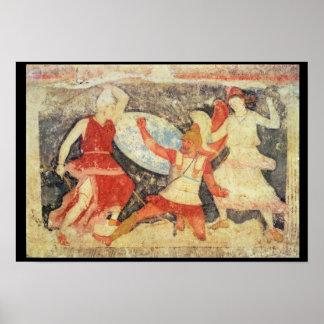 Los dos Amazonas en combate con un Griego Poster