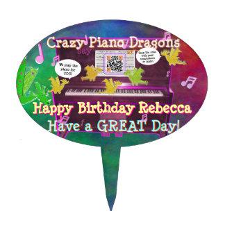 Los dragones locos del piano dicen feliz cumpleaño decoración para tarta