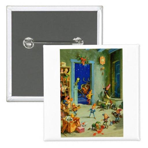 Los duendes de Santa en su taller el Nochebuena Pin Cuadrada 5 Cm
